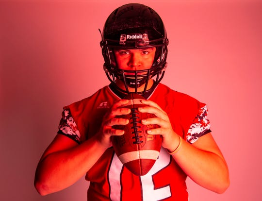 Lineman Zach Roggow of Brandon Valley High School football team poses for a portrait during the Argus Leader football media day, Tuesday, Aug. 6.