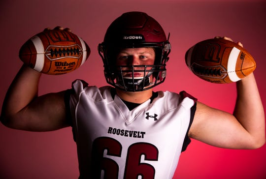 Defensive tackle Ben Kohls of Roosevelt High School football team poses for a portrait during the Argus Leader football media day, Tuesday, Aug. 6.