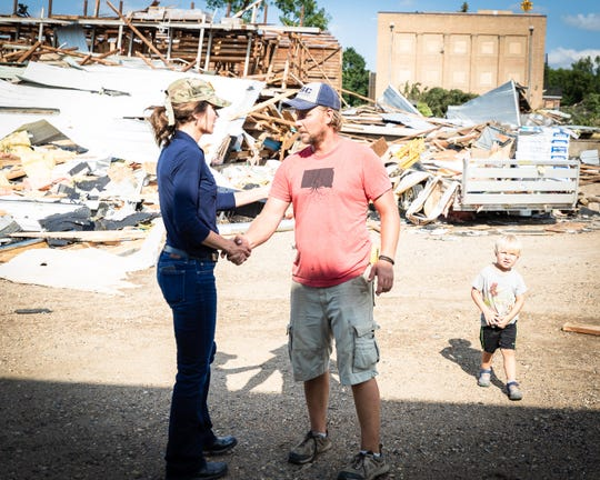 Gov. Kristi Noem tours the damage from a tornado in Burke on Aug. 7, 2019. Two people were injured in the storm that struck Aug. 6.