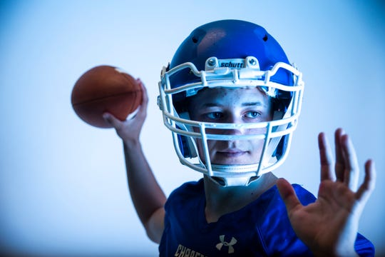 Quarterback John Overby of Sioux Falls Christian High School football team poses for a portrait during the Argus Leader football media day, Tuesday, Aug. 6.