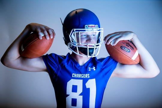Defensive end Zach Witte of Sioux Falls Christian High School football team poses for a portrait during the Argus Leader football media day, Tuesday, Aug. 6.