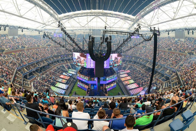 Jul 27, 2019; Flushing, NY, USA; A general view of Athur Ashe Stadium during the Fortnite World Cup Finals e-sports event at Arthur Ashe Stadium.