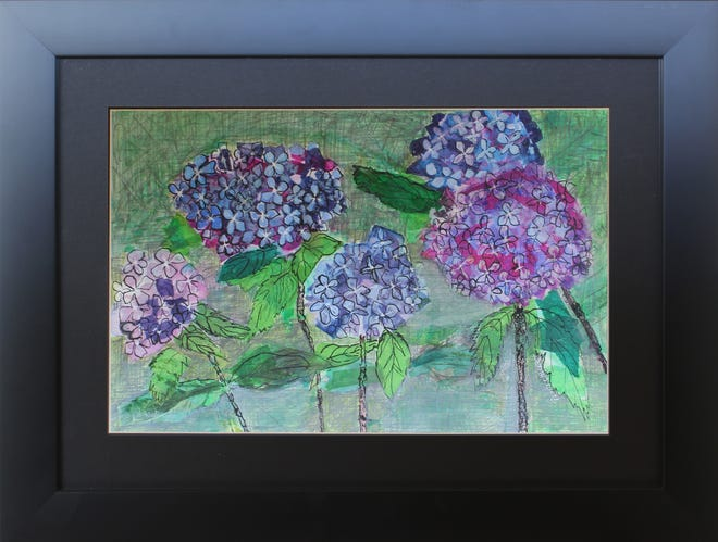 "Artist Bernice ""Penny"" Hackett's hydrangeas are part of the ""Taste of the South"" exhibit."