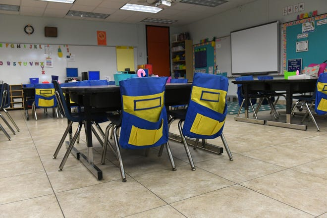 Teachers prepare their classrooms on Thursday, Aug. 8, 2019, for the first day of school this coming Monday Aug. 12 at Pelican Island Elementary. The School Board Tuesday approved the 2020-21 academic calendar.