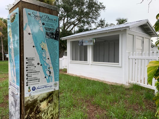 An informational kiosk at the historic Jones Pier fruit stand along the Jungle Trail on Orchid Island in Vero Beach, seen in August 2019.