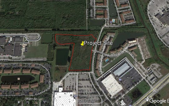 Outlined in red is the location of a 188-unit , affordable housing apartment complex  on McNeil Road proposed by St. Lucie County.