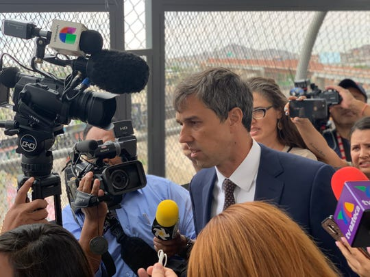 Democratic presidential candidate Beto O'Rourke crosses the Paso del Norte bridge from El Paso to Juárez on Thursday, Aug. 8, 2019.