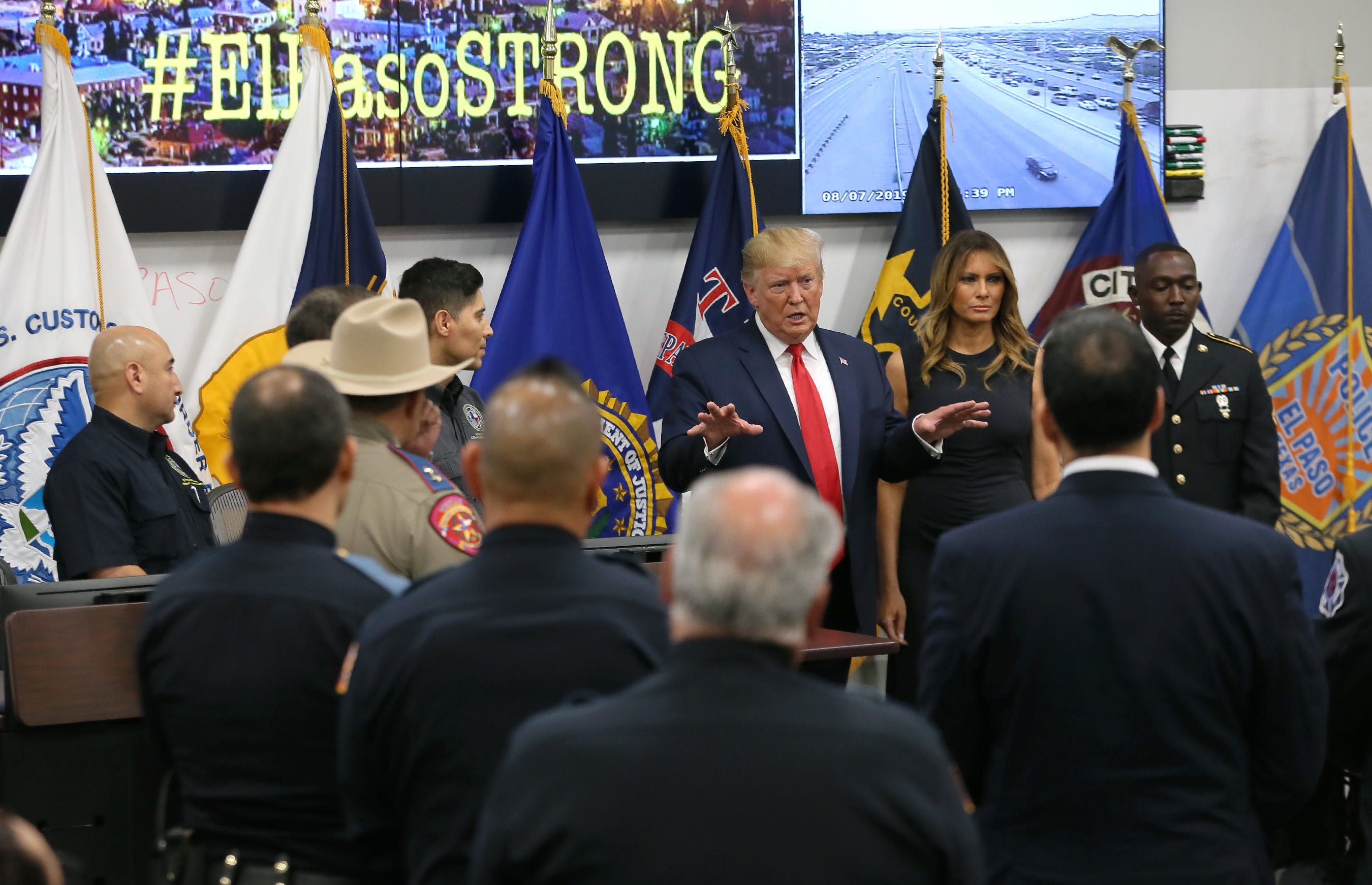 President Donald Trump speaks Wednesday, Aug. 7, 2019, at the Office of Emergency Management in El Paso, Texas. Trump met with first responders who were at the scene of the mass shooting that killed 22 and wounded 25.