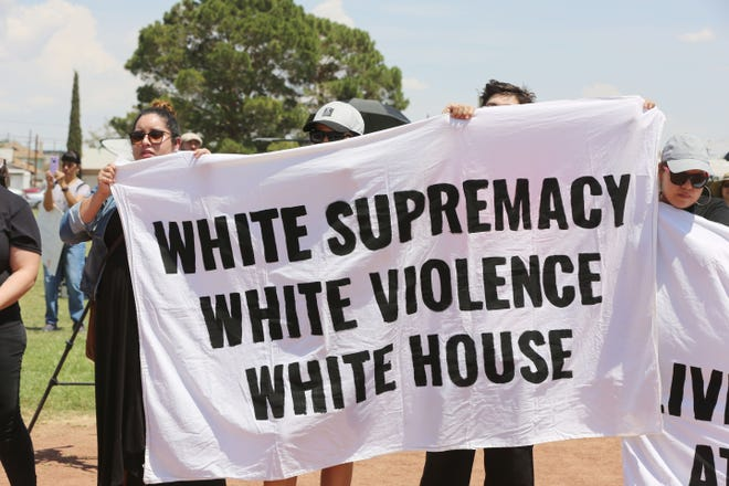 A group protesting white supremacy in El Paso, protested during Presidential Candidate Beto O'Rourke's address to the protesters, Wednesday Aug. 7, 2019. They chanted white supremacy has existed for a decades in El Paso.