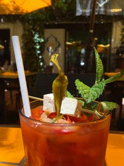 The Kimchi Bloody Mary garnished with pickled tofu and shishito pepper is a weekend-brunch special at Sage Mindful Meals in Ojai.