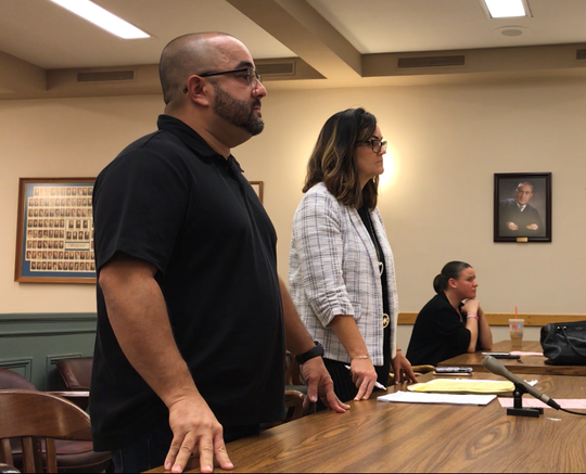 Vineland resident Luis A. Santiago, 46, was sentenced on Thursday to probation as part of a plea deal that ends a sexual harassment case. He stands next to his attorney, Diane Ruberton, in Cumberland County Superior Court. Assistant Prosecutor Lesley Snock (right) said victims agreed with the settlement.