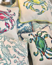 "Pillows from ""Southern Charm"" star Craig Conover are being sold at Perfect Furnishings in Bethany Beach. Conover will be at the store on Friday from 4 to 6 p.m. to meet customers."