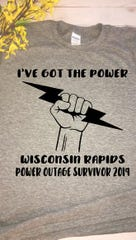 Angela Hilger made T-shirts following the severe storms that blew through central Wisconsin in July 2019.