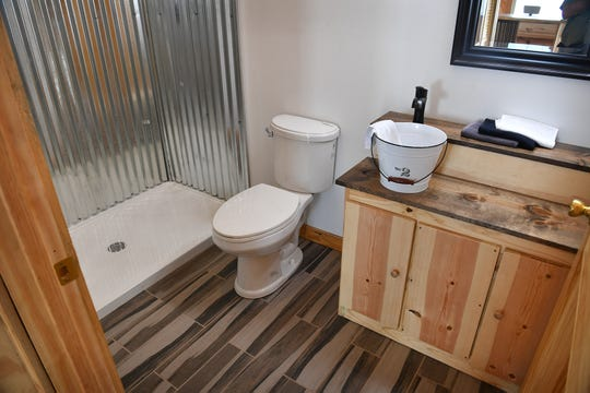 The bathroom of a small house built by students at the WFISD Career Education Center. The 1-bedroom house will be auctioned Tuesday August 13 at the CEC.