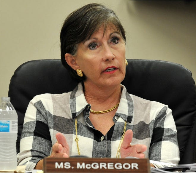 Wichita Falls ISD at-large Trustee Katherine McGregor spoke to other members of the board during an Aug. 8 meeting held to discuss the long-term facilities plan for the district.