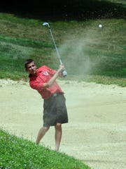 Blake Turnes hits from a bunker during the Circle K Invitational on Thursday at EagleSticks.