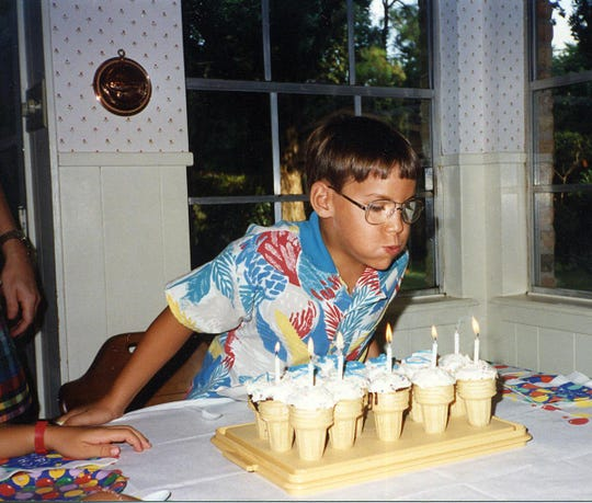 Austin Tice celebrates turning 7 years old at his birthday party in 1988.