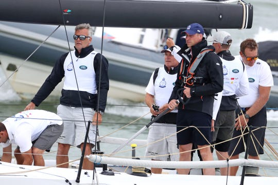 Prince William at the helm competing in the inaugural Kings Cup regatta he and Duchess Kate hosted on Aug. 8, 2019, in Cowes, Isle of Wight, to raise funds for their charities.
