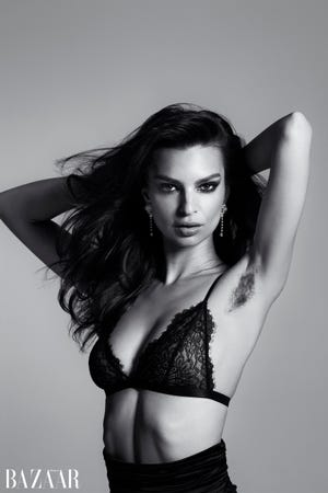 Emily Ratajkowski recently posed in Harper's Bazaar with unshaven underarms. She wrote in the magazine about why she embraces her body hair.