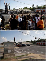 This combination of photos shows a man trying to calm a group of protesters as police stand in the distance on Aug. 13, 2014, top, and the same location, the corner of West Florissant Avenue and Canfield Drive, on July 24, 2019, in Ferguson, Mo.
