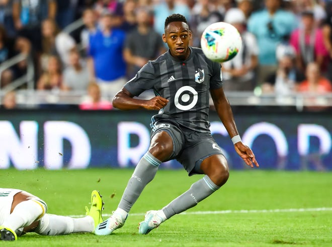 Minnesota United forward Mason Toye scores a goal in the second half of a U.S. Open Cup game against the Portland Timbers at Allianz Field. Minnesota won, 2-1, to advance to the U.S. Open Cup final on Aug. 27 against Atlanta United.