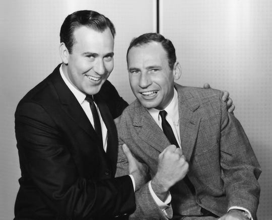 """Carl Reiner, left,  and Mel Brooks in their in their iconic """"2000 Year Old Man"""" routine in an undated photo."""