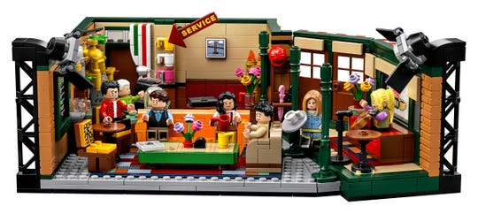 The new 'Friends' LEGO set contains mainstay elements from the popular 90s sitcom, including the six main characters, Gunther the coffee shop worker and the orange couch.