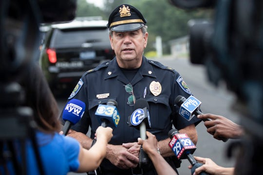 Upper Moreland Police Chief Michael Murphy speaks with members of the media about a small plane crash sets in a residential neighborhood in Upper Moreland, Pa., Thursday, Aug. 8, 2019.