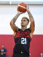 Kyle Kuzma of the 2019 USA Men's National Team shoots during a practice session at the 2019 USA Basketball Men's National Team World Cup minicamp.