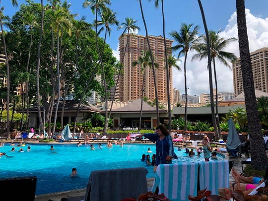 The Grand Waikikian at Hilton Hawaiian Village is shown in Honolulu on Wednesday, Aug. 7, 2019. Hawaii authorities are investigating three fires that were intentionally set in three different high-rise resort hotels near Waikiki Beach over the past few days.