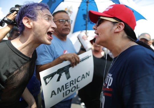 Protesters in El Paso, Texas, on Aug. 7, 2019, when President Donald Trump was visiting.
