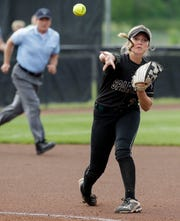 Brooke Ellestad throws to first base during the WIAA Division 1 state championship softball game on June 8 at Goodman Softball Complex in Madison.