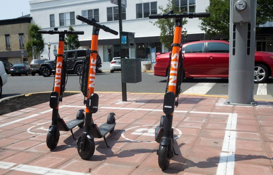 Some of the electric scooters available to rent in Asbury Park. Aug. 7, 2019