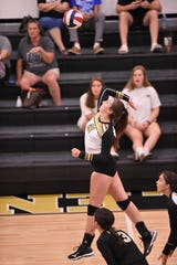 Abilene High's Paighton Lawson (21) goes up for a spike during Day 1 of the Bev Ball Classic at Eagle Gym on Friday, Aug. 9, 2019. The Lady Eagles beat Sweetwater 25-14, 25-9 after defeating Holliday 27-25, 16-25, 25-22 in their first match of the day. The tournament begins bracket play on Saturday.