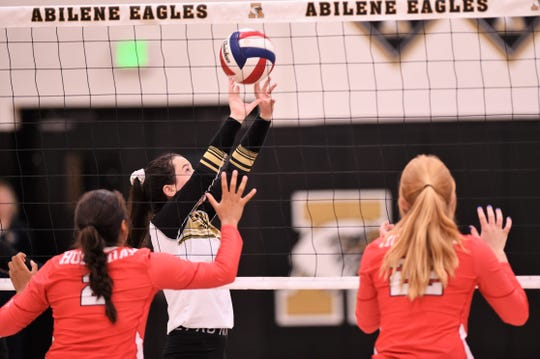 Abilene High setter Madi Sipe (1) is one of three returning varsity players this season. The Lady Eagles are using their early season schedule, like this weekend's Bev Ball Classic to gain experience for several new faces.