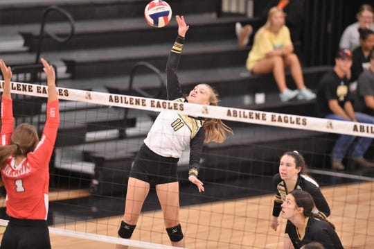 Abilene High's Sarah Cox (11) is just one of three players returning from last year's roster. The Lady Eagles are off to a good start this season, improving to 4-0 after a pair of wins on Friday during pool play of the Bev Ball Classic at Eagle Gym.