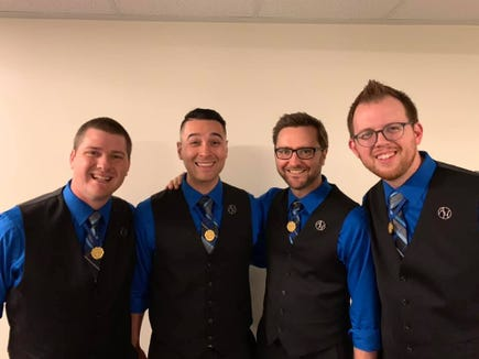 "Award-winning barbershop quartet After Hours are featured in the West Sound Chorus's two Aug. 17 concerts at the Bremerton Perfroming Arts Center, titled ""One Hundred Years Ago, Or So."""