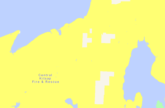 This map shows gaps in Central Kitsap Fire and Rescue's district that aren't taxed for their services. Areas in white contain parcels not currently subject to fire taxes that will be annexed.