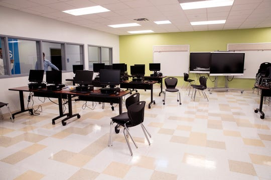 The new Windsor Park Elementary School was built as part of bond 2014. This is the computer lab on the first floor. Administrators and architects gave a tour on Friday, August 9, 2019.
