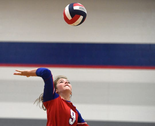 Various high school participate in Spikefest volleyball tournament, Friday, Aug. 9, 2019, at Veteran's Memorial High School. King, Sinton, Gregory-Portland, Veteran's Memorial were some of the schools who competed in the tournament.
