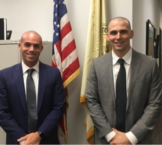 Stephen Bruno (left) and Tom Spitz are two of the 12 new recruits of the Cherry Hill Police Department. Both were hired recently and sworn in. The pair are former professional baseball players.