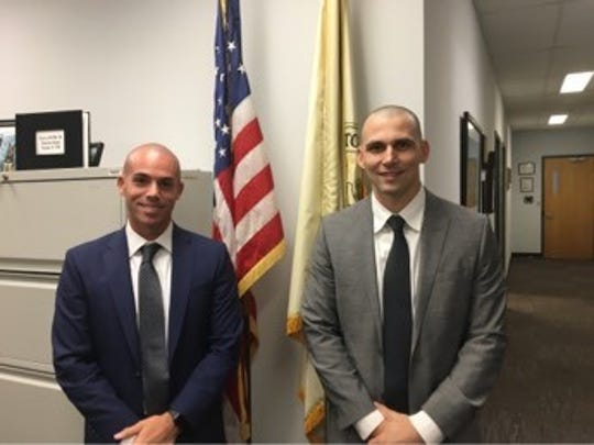 Gloucester Catholic High School graduate Stephen Bruno, left, and Tom Spitz were recently hired by the Cherry Hill Police Department as new officers. Both played professional baseball.
