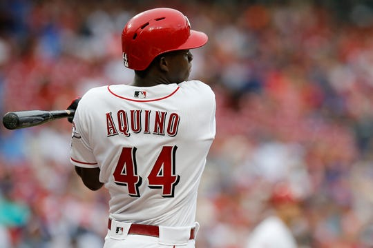 Cincinnati Reds right fielder Aristides Aquino (44) hit his fourth home run  Friday -- a two-run shot.