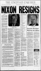 The Cincinnati Enquirer front page, August 9, 1974: President Richard Nixon resigns.