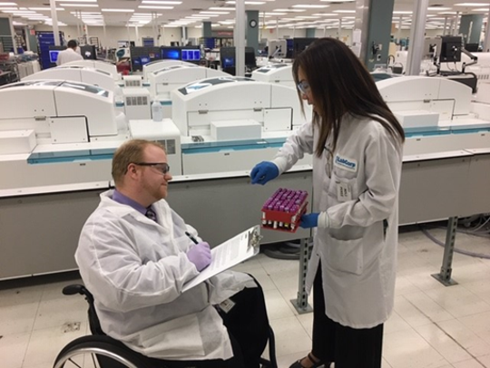 After suffering from a Traumatic Brain Injury and a severed spinal cord, Kevin Greene participated in the Hackensack Meridian Health JFK Johnson Rehabilitation Institute's Laboratory Assistant Training Program.  He is successfully employed at LabCorp, which has employed 30 graduates of the program.