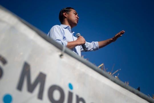 Julián Castro, Former United States Secretary of Housing and Urban Development and 2020 presidential candidate, delivers a speech at the Des Moines Register Political Soapbox on August 9, 2019.