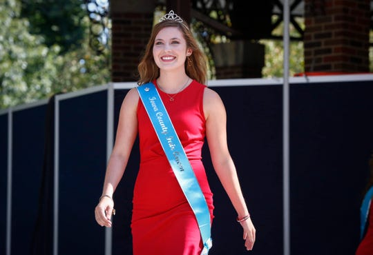 State Fair Queen contestant Madalynne Yenter, Iowa County. More than 100 contestants vying for the coveted title of Iowa State Fair Queen are introduced during the Iowa State Fair on Thursday, Aug. 8, 2019, at the Iowa State Fairgrounds in Des Moines. The queen will be coronated on Saturday.