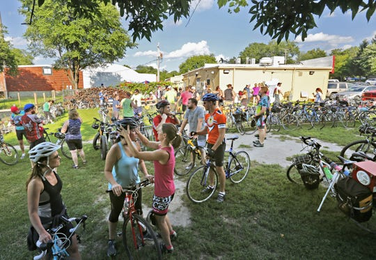 Cyclists arrive at Orlondo's on Park on a ride in 2014. The south-side restaurant was a pioneer in catering to Iowa's cycling community. It closed last month after 17 years along the Great Western Trail.