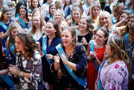 More than 100 contestants vying for the coveted title of Iowa State Fair Queen are introduced during the Iowa State Fair on Thursday, Aug. 8, 2019, at the Iowa State Fairgrounds in Des Moines.