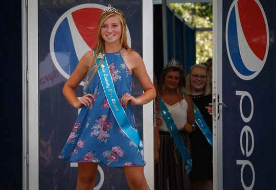State Fair Queen contestant Taylor Lemke, Guthrie County. More than 100 contestants vying for the coveted title of Iowa State Fair Queen are introduced during the Iowa State Fair on Thursday, Aug. 8, 2019, at the Iowa State Fairgrounds in Des Moines. The queen will be coronated on Saturday.